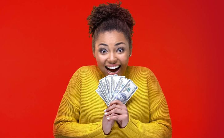 Member Return Young African American Woman Excited Holding Cash