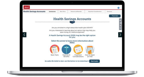 Ascend Health Savings Accounts Lesson on a laptop