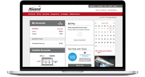 Ascend online banking on a laptop