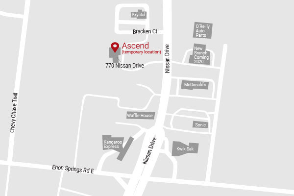 Map of temporary Ascend location in Smyrna