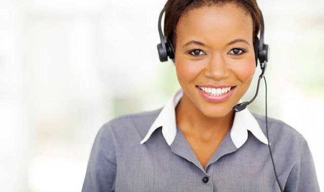 Young lady smiling with headset